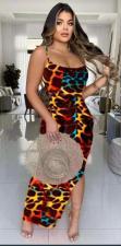 Leopard Backless Spaghetti Strap Split Maxi Dress YHDF-6020