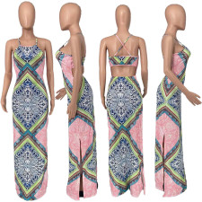 Sexy Printed Backless Cross Strap Split Maxi Dress YHDF-6006
