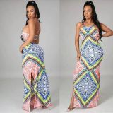 Sexy Printed Backless Cross Strap Split Maxi Dress YHDF-6006