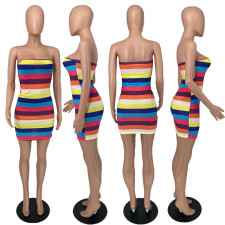 Rainbow Striped Off Shouler Tube Dress YHDF-6015