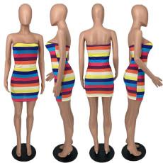 Rainbow Striped Off Shouler Tube Dress YHDF-6015