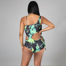 Sexy Printed Hollow Out One Piece Swimsuit CTHF-9050