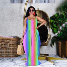 Rainbow Print Spaghetti Strap Loose Maxi Dress GHF-046