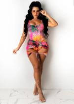 Snake Skin Print Bodysuit+Lace Up Skirt 2 Piece Sets CTHF-9051