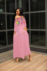 Ink Jet Print Big Swing Loose Irregular Maxi Dress QHF-8642