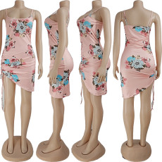 Floral Print Drawstring Ruched Mini Dress AYF-1001