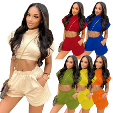 Solid Short Sleeve Crop Top Shorts 2 Piece Sets SZF-8072