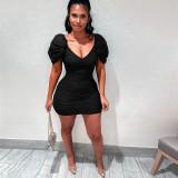 Sexy V Neck High Waist Ruched Bodycon Dress AMLF-2151