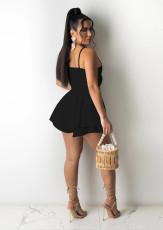 Sexy Solid Ruffled Spaghetti Strap Mini Dress JRF-3618