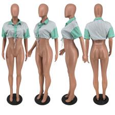 Sexy Striped Turndown Collar Short Sleeve Crop Top ZNF-9070