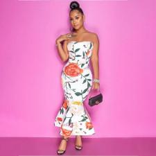 Sexy Floral Print Ruffled Midi Tube Dress YAOF-8019