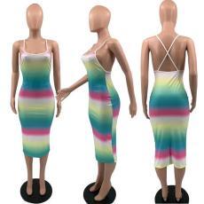 Rainbow Stripe Cross Strap Slim Midi Dress YAOF-8029