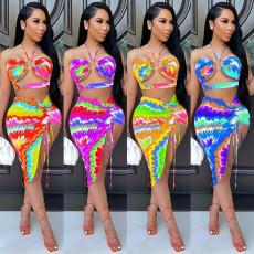 Sexy Printed Halter Irregular Skirt 2 Piece Sets SZF-8065