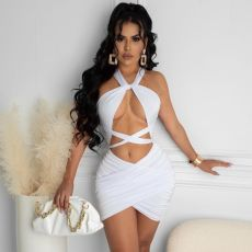 Sexy Halter Ruched Hollow Bandage Club Dress CTHF-9062