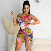 Sexy Printed Bodysuit+Lace Up Mini Skirt 2 Piece Sets CTHF-9055