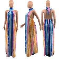 Colorful Printed Halter Big Swing Maxi Dress YAOF-8034