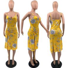 Floral Print Spaghetti Strap Drawstring Split Midi Dress YAOF-8023