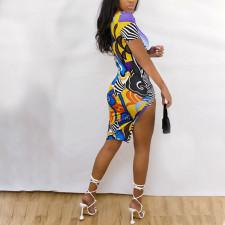 Sexy Short Sleeve Irregular Print Dress CTHF-9063