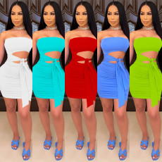 Sexy Solid Off Shoulder Hollow Bodycon Tube Dress SZF-8075