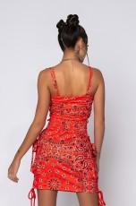 Paisley Print Drawstring Cami Top Mini Skirt 2 Piece Sets XYF-9099