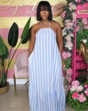 Casual Striped Halter Loose Maxi Dress ZNF-9072