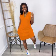 Plus Size Solid V Neck Sleeveless Knee Length Dress JRF-3617