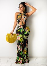 Floral Print Lace Up Halter Hollow Maxi Dress WY-6791