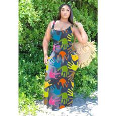 Casual Printed Sleeveless Maxi Dress YFS-2028