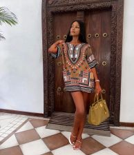 African Dashiki Print Short Sleeve Mini Dress WZ-8389