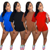 Casual Solid T Shirt And Shorts 2 Piece Sets MK-3054