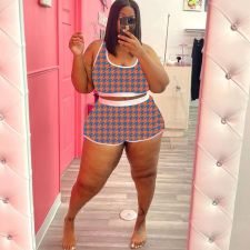 Plus Size Houndstooth Print Casual 2 Piece Shorts Set MX-1196