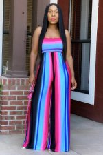 Plus Size Colorful Striped Backless Wide Leg Jumpsuit WUM-2158