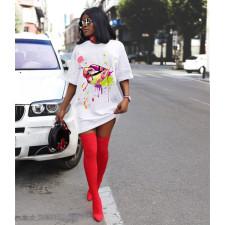 Lip Print Casual Loose T Shirt Dress YFS-2030