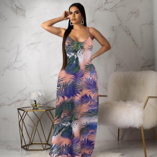 Casual Printed Spaghetti Strap Long Dress LSD-9151