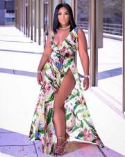 Fashion Sexy Printed V-neck Slit Maxi Dress RUF-8928