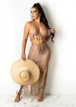 Sexy Knitted Tassel Hollow Out Two Piece Skirt Set TR-1151