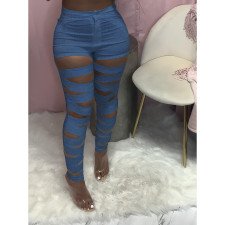Denim Hollow Out Skinny Jeans Pant MTY-6530
