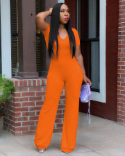 Casual Solid Color V-neck Short Sleeve Jumpsuits OYF-8260