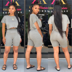 Solid T Shirt Shorts Casual 2 Piece Sets WY-6780