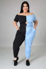 Plus Size Contrast Color Off Shoulder Two Piece Pant Sets YH-004
