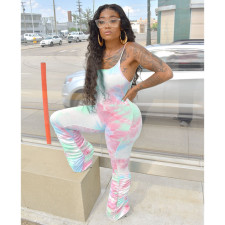 Sexy Tie Dye Print Strap Stacked Jumpsuit YFS-Q606