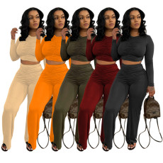 Solid Ruched Long Sleeve Two Piece Pant Sets TR-1149