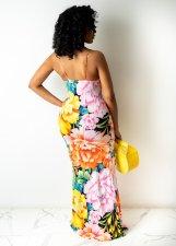 Floral Print Sexy Spaghetti Strap Maxi Dress WY-6785