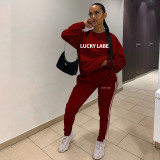 Lucky Label Letter Print Tracksuit 2 Piece Sets YWF-1830