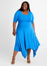 Plus Size Solid Irregular Hem Midi Dress WAF-7192
