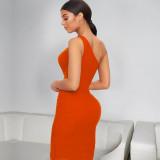 Sexy One Shoulder Sleeveless Hollow Long Dress YFS-Q722
