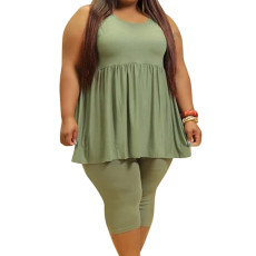 Plus Size Casual Solid Sleeveless Two Piece Sets CYA-1543