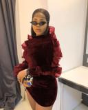Sexy Velvet Mesh Patchwork Long Sleeve Mini Dress YWF-1833