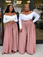 Plus Size Solid High Waist Wide Leg Pant Without Top CYA-1542