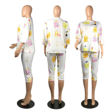 Casual Printed Half Sleeve Capri Pants 2 Piece Sets WSM-2030
